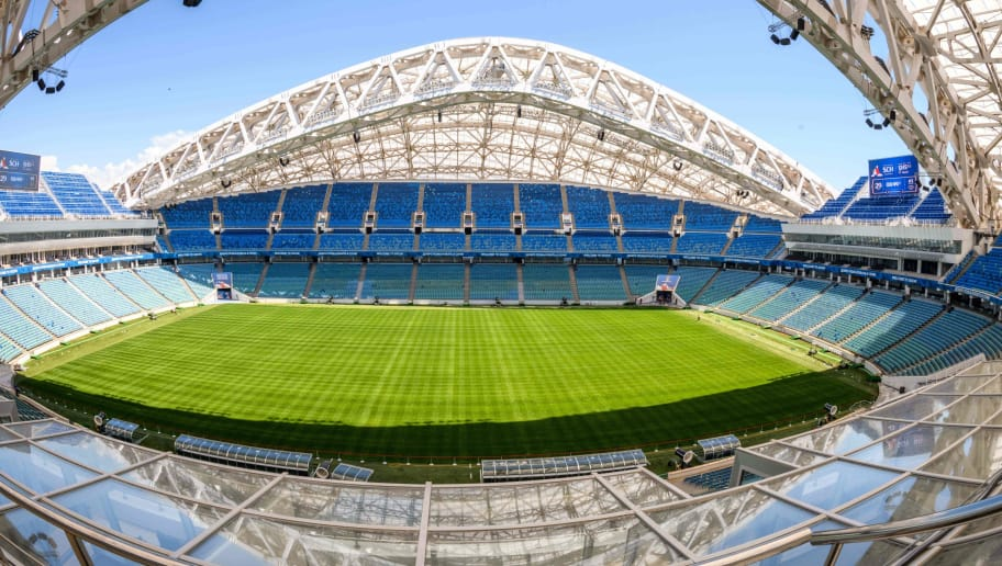 A photo taken on May 17, 2018 shows the pitch and the stands of the Fisht Olympic Stadium in Sochi. - During the 2018 FIFA World Cup in Russia, the 40,000-seater stadium will host four first round group games, one round of 16 match, and one quarter-final. (Photo by Mladen ANTONOV / AFP)        (Photo credit should read MLADEN ANTONOV/AFP/Getty Images)