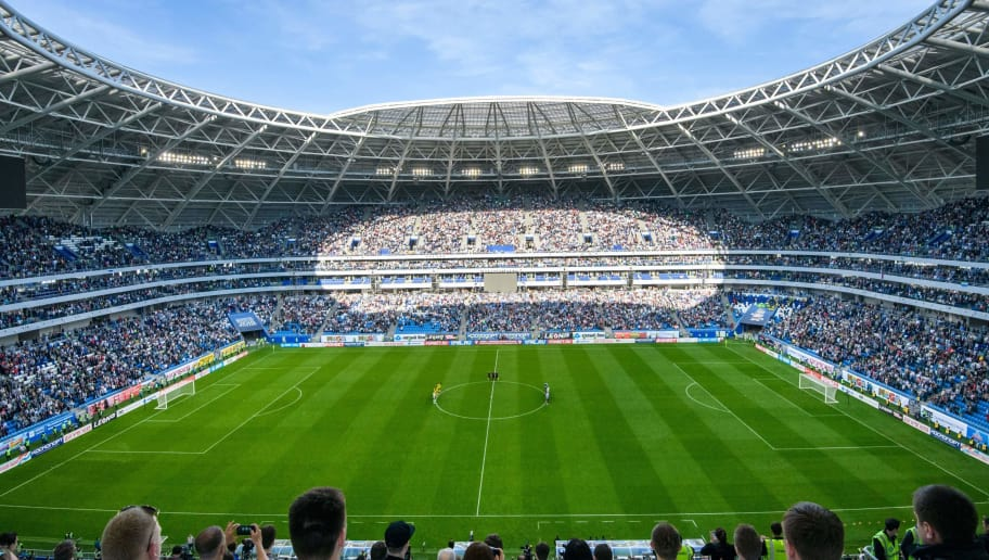 A general view taken on May 6, 2018 shows the pitch of the Samara Arena, also known as Kosmos Arena, during a local match, in Samara, Russia, ahead of the 2018 FIFA World Cup. - The nearly 45,000-seater stadium will host six World Cup matches. (Photo by Mladen ANTONOV / AFP)        (Photo credit should read MLADEN ANTONOV/AFP/Getty Images)