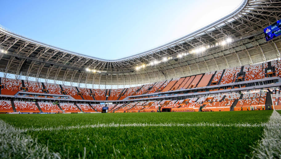 A view of the pitch and the stands of Mordovia Arena in Saransk on May 4, 2018. - The 44,000-seater stadium will host four World Cup matches. (Photo by Mladen ANTONOV / AFP)        (Photo credit should read MLADEN ANTONOV/AFP/Getty Images)