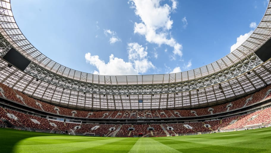 A view of the pitch and the stands of the Luzhniki Stadium in Moscow on May 23, 2018. - The 80,000-seater stadium will host seven World Cup matches including the opening game and the final. (Photo by Mladen ANTONOV / AFP)        (Photo credit should read MLADEN ANTONOV/AFP/Getty Images)