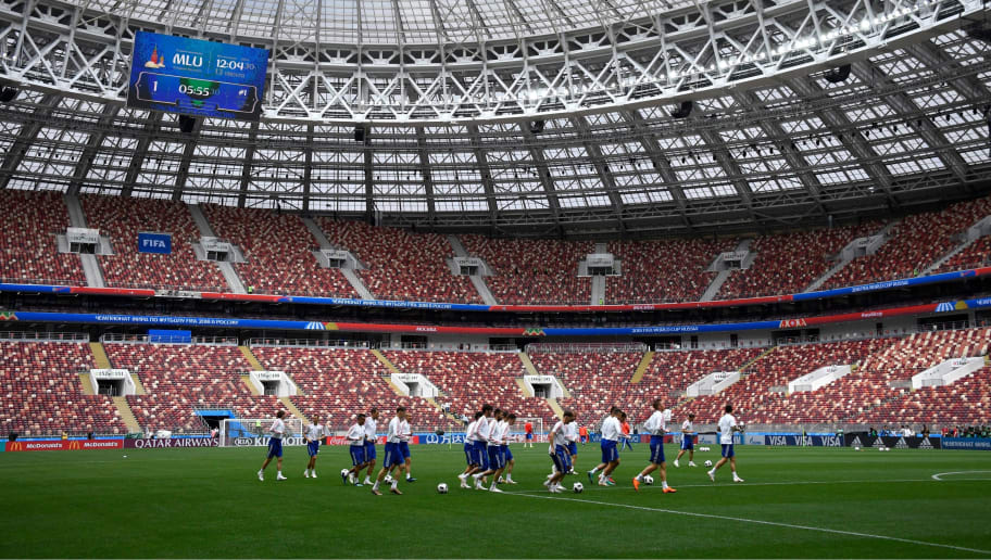 Russia's players take part in a training session at the Luzhniki Stadium in Moscow on June 13, 2018 ahead of the Russia 2018 World Cup opening football match between Russia and Saudi Arabia. (Photo by Alexander NEMENOV / AFP)        (Photo credit should read ALEXANDER NEMENOV/AFP/Getty Images)