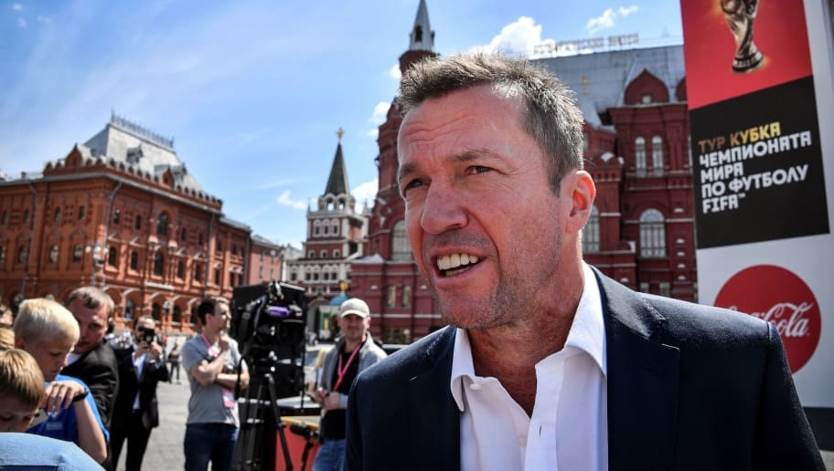 Former German football player, the winner of 1990's world title Lothar Matthaeus talks to the press during the presentation of the FIFA World Cup football trophy during a ceremony to mark the arrival of the World Cup trophy in Moscow on June 3, 2018, ahead of the start of the tournament in Russia. (Photo by Alexander NEMENOV / AFP)        (Photo credit should read ALEXANDER NEMENOV/AFP/Getty Images)
