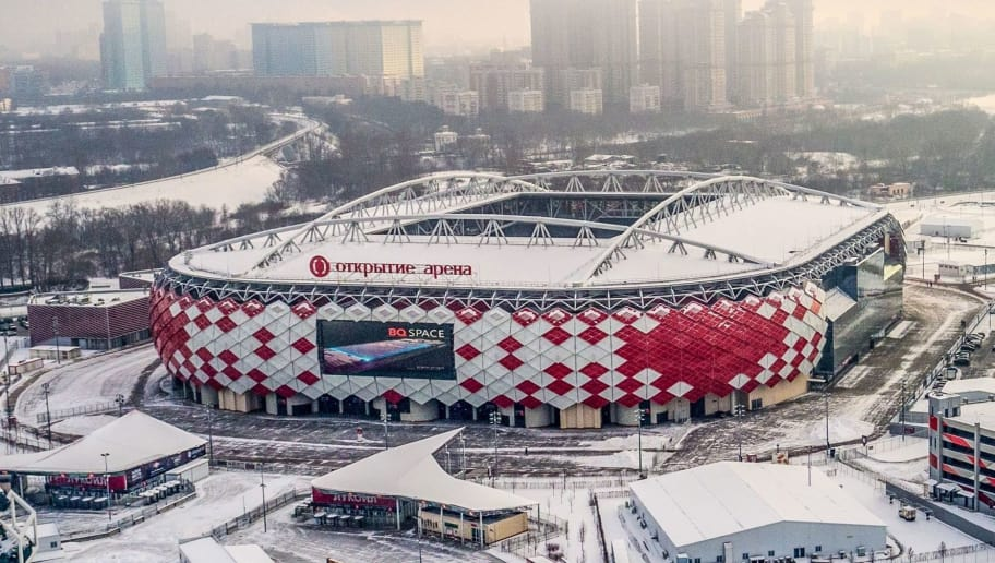 An aerial view taken in Moscow on January 24, 2018 shows the Spartak Stadium. - The 45.000 seats Spartak Stadium is one of the venues of the 2018 FIFA World Cup football tournament. (Photo by Dmitry Serebryakov / AFP)        (Photo credit should read DMITRY SEREBRYAKOV/AFP/Getty Images)