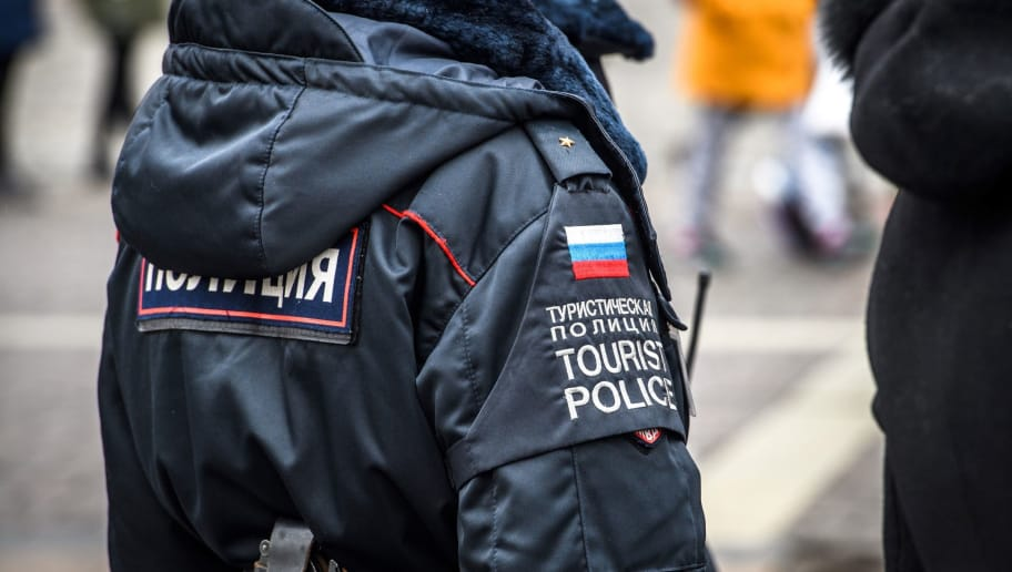 A tourist policewoman patrols the Manezhnaya square in downtown Moscow on April 2, 2018. / AFP PHOTO / Mladen ANTONOV        (Photo credit should read MLADEN ANTONOV/AFP/Getty Images)