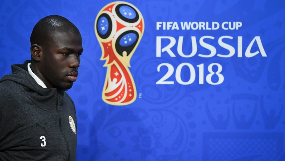 Senegal's defender Kalidou Koulibaly arrives to a press conference on the eve of the Russia 2018 World Cup Group H football match between Colombia and Senegal at the Samara Arena on June 27, 2018 in Samara. (Photo by Emmanuel DUNAND / AFP)        (Photo credit should read EMMANUEL DUNAND/AFP/Getty Images)