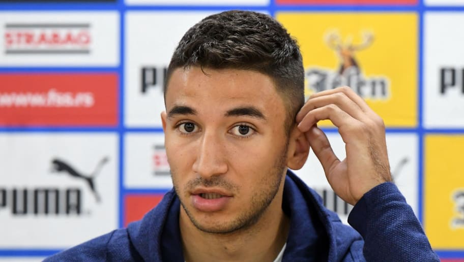 Serbia's midfielder Marko Grujic reacts during a press conference at the base camp of the Serbian national team at the Svetlogorsk's stadium, in Svetlogorsk, on June 13, 2018, ahead of the Russia 2018 World Cup football tournament. (Photo by ATTILA KISBENEDEK / AFP)        (Photo credit should read ATTILA KISBENEDEK/AFP/Getty Images)