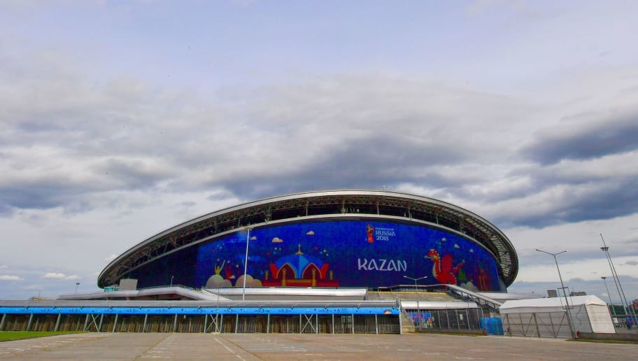 General view of the Kazan Arena stadium in Kazan on June 8, 2018, ahead of the Russia 2018 World Cup in Kazan on June 8, 2018. - The 45,379-seater stadium will host four World Cup matches. (Photo by LUIS ACOSTA / AFP)        (Photo credit should read LUIS ACOSTA/AFP/Getty Images)