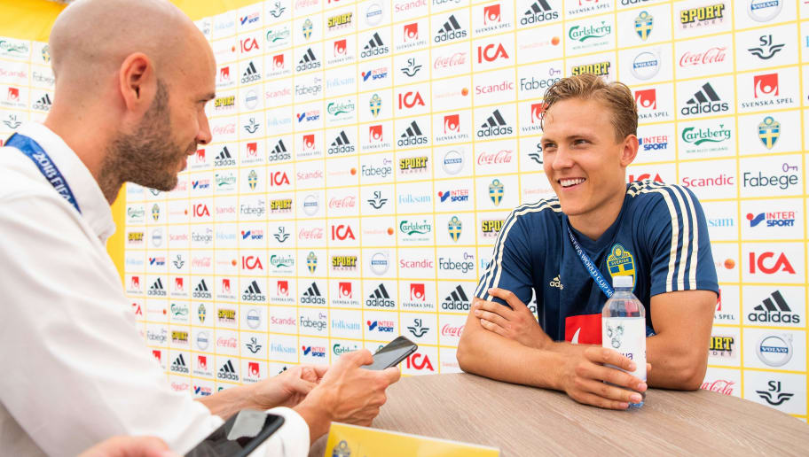 Sweden's defender Ludwig Augustinsson speaks to the press during a mixed zone following a training session on June 21, 2018 at Spartak stadium in Gelendzhik, during the Russia 2018 World Cup football tournament. (Photo by Jonathan NACKSTRAND / AFP)        (Photo credit should read JONATHAN NACKSTRAND/AFP/Getty Images)