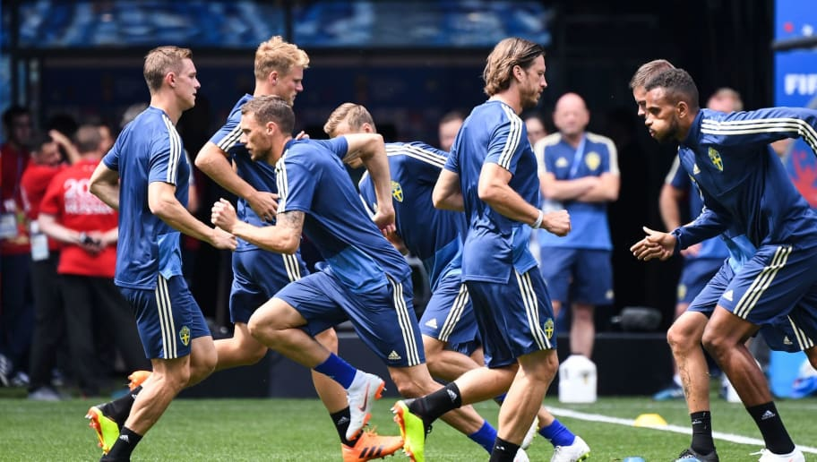 Sweden's players attend a training session at the Nizhny Novgorod Stadium in Nizhny Novgorod on June 17, 2018 on the eve of the Russia 2018 World Cup Group F football match between Sweden and South Korea. (Photo by Dimitar DILKOFF / AFP)        (Photo credit should read DIMITAR DILKOFF/AFP/Getty Images)