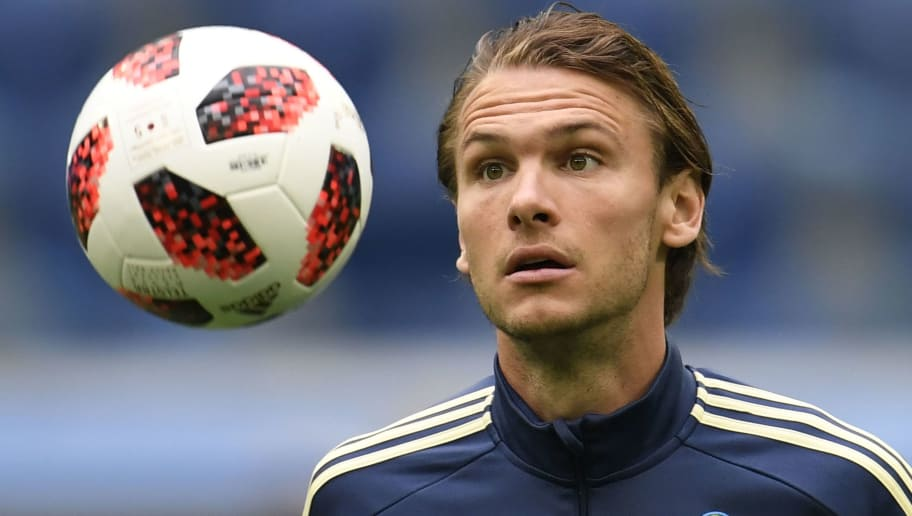 Sweden's midfielder Albin Ekdal during a training session at Saint-Petersburg stadium on July 2, 2018, on the eve of the team's round of sixteen match as part of the Russia 2018 World Cup football tournament. (Photo by CHRISTOPHE SIMON / AFP)        (Photo credit should read CHRISTOPHE SIMON/AFP/Getty Images)