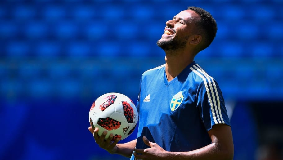 Isaac Sweden's forward Isaac Kiese Thelin takes part to a training session on the eve of the Russia 2018 FIFA World Cup quarter final football match between Sweden and England at the Samara Arena on July 6, 2018 in Samara. (Photo by Alexander NEMENOV / AFP)        (Photo credit should read ALEXANDER NEMENOV/AFP/Getty Images)