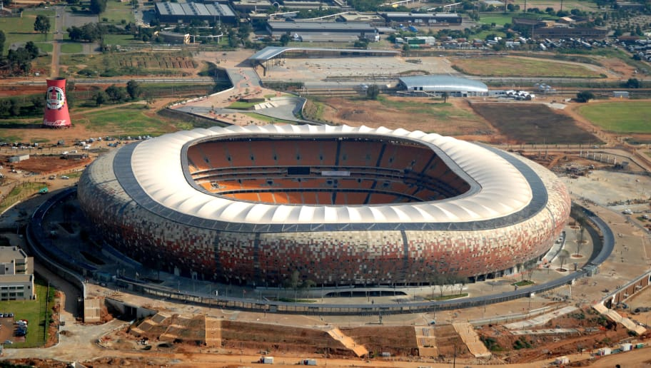 Aerial view taken on February 18, 2010 shows the Soccer City Stadium in Johannesburg, South Africa, ahead of the 2010 Football World Cup. About 450 000 international fans are expected to visit the country for the June 11-July 11 event. AFP PHOTO / EUROLUFTBILD        (Photo credit should read STF/AFP/Getty Images)