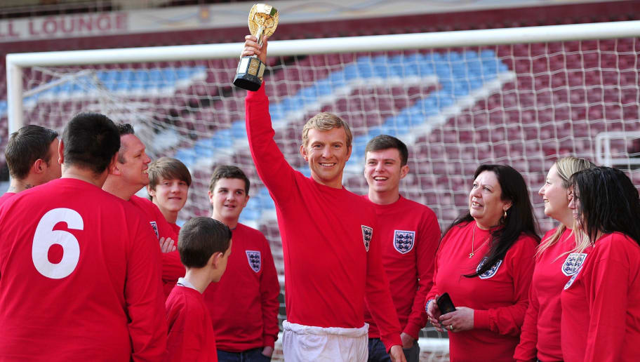 A waxwork model of England's 1966 world cup winning captain the late Bobby Moore is displayed at West Ham United's football ground in east London on May 19, 2014.  AFP PHOTO / CARL COURT        (Photo credit should read CARL COURT/AFP/Getty Images)