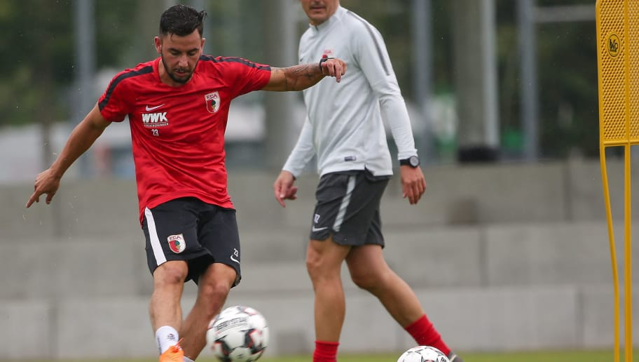 AUGSBURG, GERMANY - JUNE 28: Marco Richter of Augsburg controls the ball during a FC Augsburg Training session on June 28, 2018 in Augsburg, Germany. (Photo by TF-Images/Getty Images)