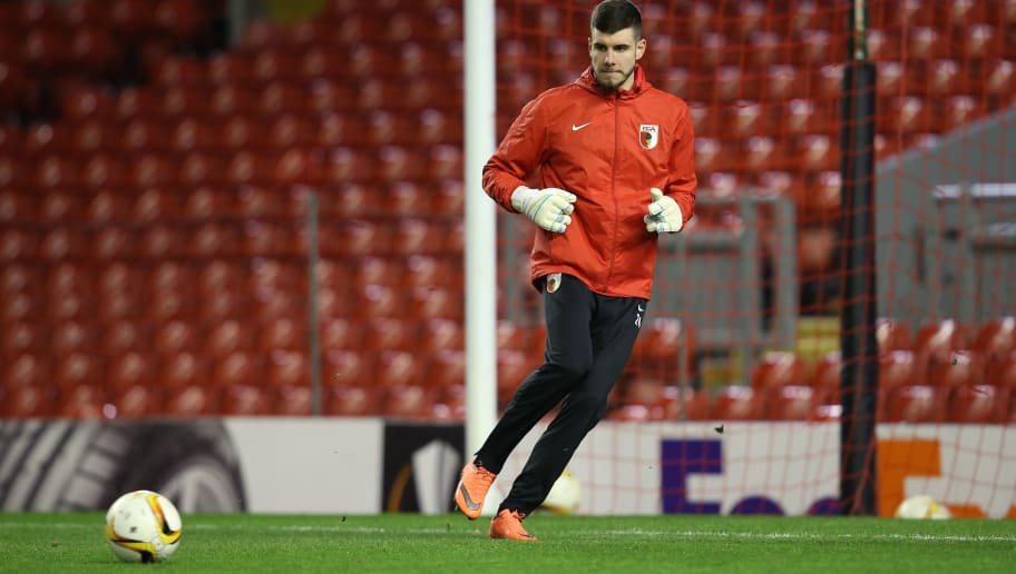 LIVERPOOL, ENGLAND - FEBRUARY 24:  Goalkeeper Ioannis Gelios of FC Augsburg in action during the FC Augsburg training session ahead of their UEFA Europa League round of 32, second leg match against Liverpool at Anfield on February 24, 2016 in Liverpool, United Kingdom.  (Photo by Jan Kruger/Getty Images)
