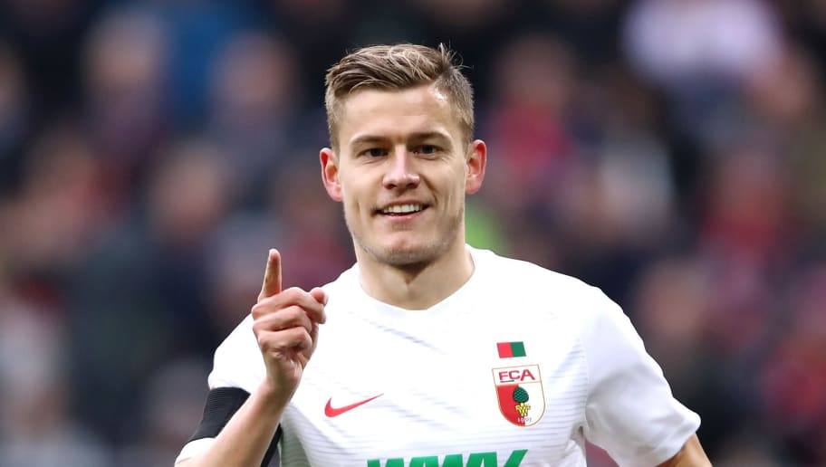 AUGSBURG, GERMANY - NOVEMBER 03: Alfred Finnbogason of Augsburg celebrates after scoring his team's first goal during the Bundesliga match between FC Augsburg and 1. FC Nuernberg at WWK-Arena on November 3, 2018 in Augsburg, Germany.  (Photo by Alex Grimm/Bongarts/Getty Images)