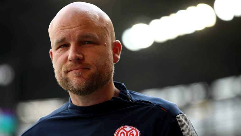 AUGSBURG, GERMANY - APRIL 22:  Rouven Schroeder, sport director of Mainz looks on before the Bundesliga match between FC Augsburg and 1. FSV Mainz 05 at WWK-Arena on April 22, 2018 in Augsburg, Germany.  (Photo by Adam Pretty/Bongarts/Getty Images)