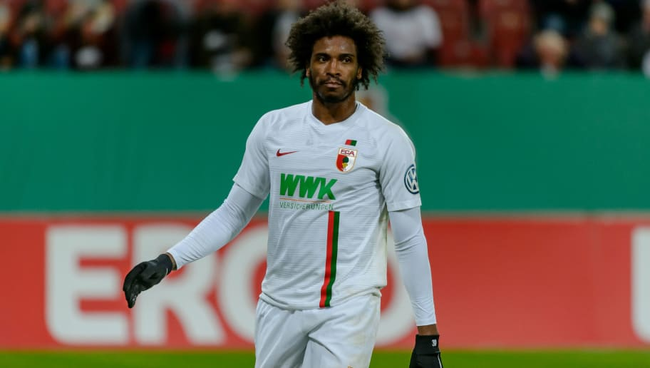 AUGSBURG, GERMANY - OCTOBER 30: Francisco da Silva Caiuby of FC Augsburg looks on during the DFB Cup match between FC Augsburg and 1. FSV Mainz 05 at WWK-Arena on October 30, 2018 in Augsburg, Germany. (Photo by TF-Images/Getty Images)