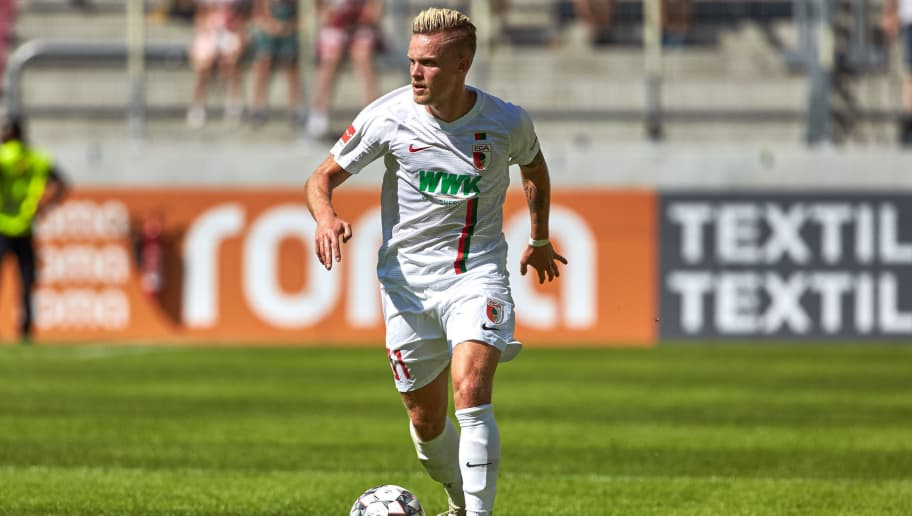 AUGSBURG, GERMANY - AUGUST 12: Philipp Max of FC Augsburg controls the ball during the friendly match between FC Augsburg and Athletic Club Bilbao on August 12, 2018 in Augsburg, Germany. (Photo by TF-Images/Getty Images)