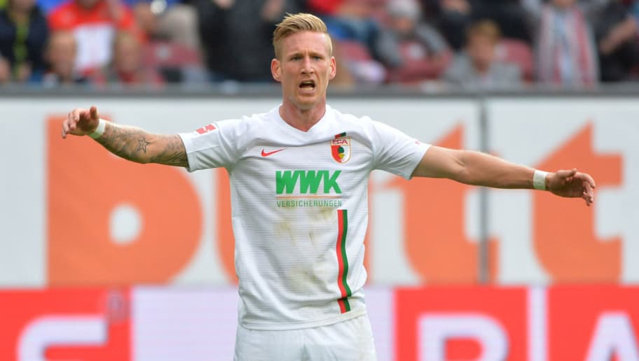 AUGSBURG, GERMANY - SEPTEMBER 01: Andre Hahn of Augsburg  gestures  during the Bundesliga match between FC Augsburg and Borussia Moenchengladbach at WWK-Arena on September 1, 2018 in Augsburg, Germany. (Photo by TF-Images/Getty Images)