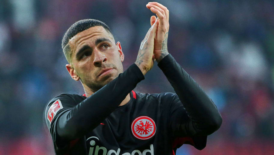 AUGSBURG, GERMANY - FEBRUARY 04: Omar Mascarell of Frankfurt looks dejected after the Bundesliga match between FC Augsburg and Eintracht Frankfurt at WWK-Arena on February 4, 2018 in Augsburg, Germany. (Photo by TF-Images/TF-Images via Getty Images)