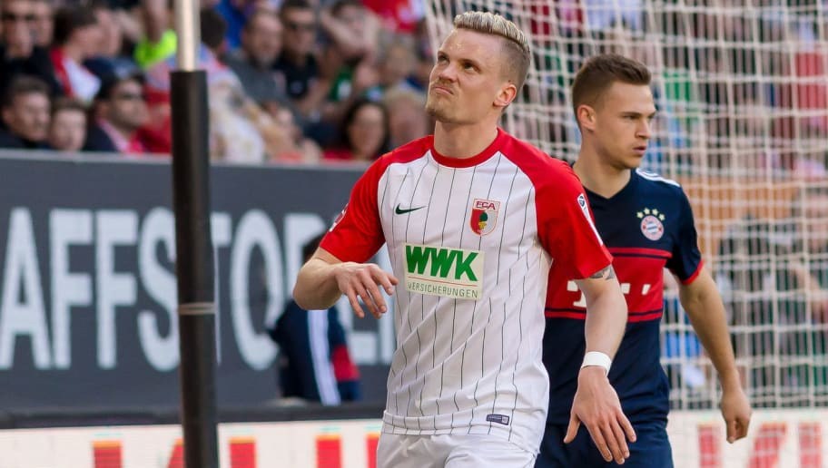 AUGSBURG, GERMANY - APRIL 07: Philipp Max of Augsburg looks on during the Bundesliga match between FC Augsburg and FC Bayern Muenchen at WWK-Arena on April 7, 2018 in Augsburg, Germany. (Photo by TF-Images/Getty Images)