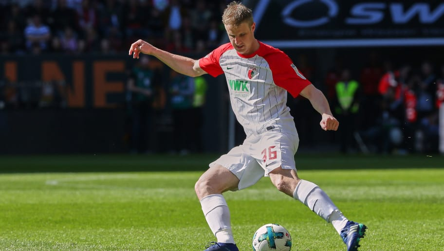 AUGSBURG, GERMANY - APRIL 07: Martin Hinteregger of Augsburg controls the ball during the Bundesliga match between FC Augsburg and FC Bayern Muenchen at WWK-Arena on April 7, 2018 in Augsburg, Germany. (Photo by TF-Images/Getty Images)