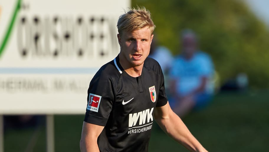 AUGSBURG, GERMANY - JULY 18: Martin Hinteregger of Augsburg controls the ball during the Friendly match between FC Augsburg and FC Middlesbrough on July 18, 2018 in Augsburg, Germany. (Photo by TF-Images/Getty Images)