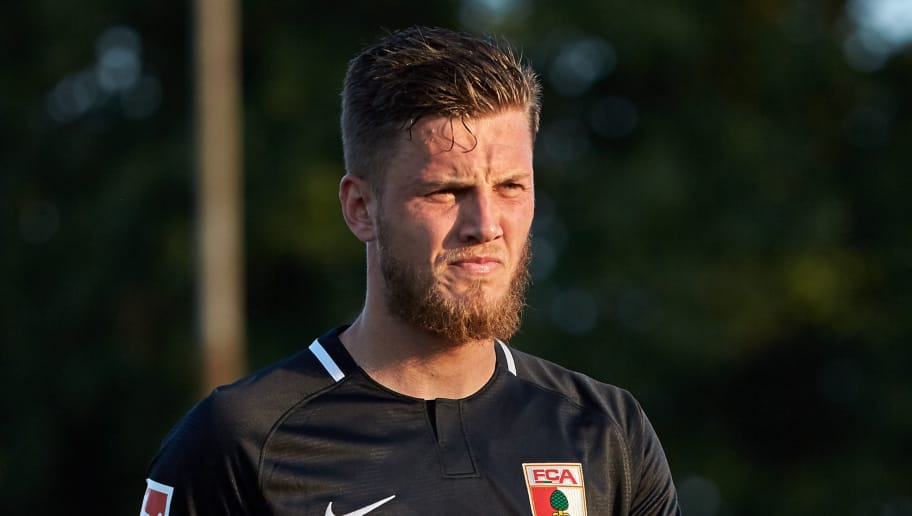AUGSBURG, GERMANY - JULY 18: Jeffrey Gouweleeuw of Augsburg looks on , gestures during the Friendly match between FC Augsburg and FC Middlesbrough on July 18, 2018 in Augsburg, Germany. (Photo by TF-Images/Getty Images)