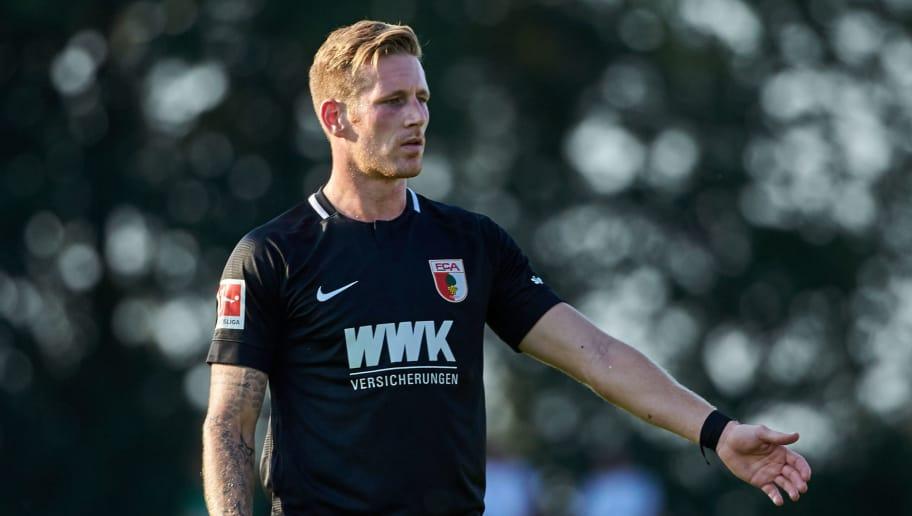 AUGSBURG, GERMANY - JULY 18: Andre Hahn of Augsburg looks on , gestures during the Friendly match between FC Augsburg and FC Middlesbrough on July 18, 2018 in Augsburg, Germany. (Photo by TF-Images/Getty Images)