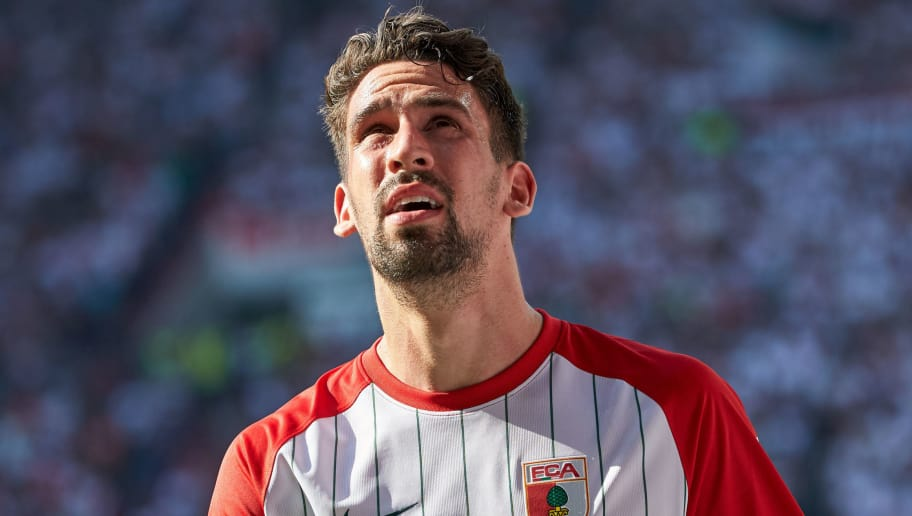 AUGSBURG, GERMANY - MAY 05: Rani Khedira of Augsburg looks on during the Bundesliga match between FC Augsburg and FC Schalke 04 at WWK-Arena on May 5, 2018 in Augsburg, Germany. (Photo by TF-Images/Getty Images)