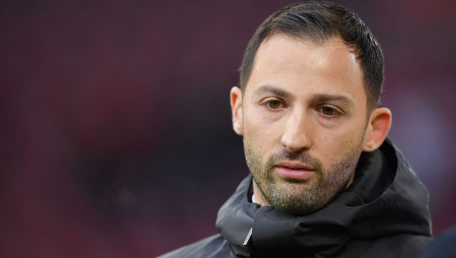 AUGSBURG, GERMANY - DECEMBER 15: Head coach Domenico Tedesco of Schalke looks on prior to the Bundesliga match between FC Augsburg and FC Schalke 04 at WWK-Arena on December 15, 2018 in Augsburg, Germany. (Photo by Sebastian Widmann/Bongarts/Getty Images)
