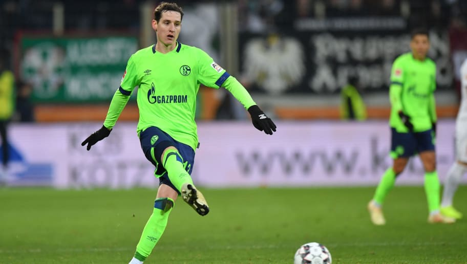 AUGSBURG, GERMANY - DECEMBER 15: Sebastian Rudy of Schalke passes the ball during the Bundesliga match between FC Augsburg and FC Schalke 04 at WWK-Arena on December 15, 2018 in Augsburg, Germany. (Photo by Sebastian Widmann/Bongarts/Getty Images)