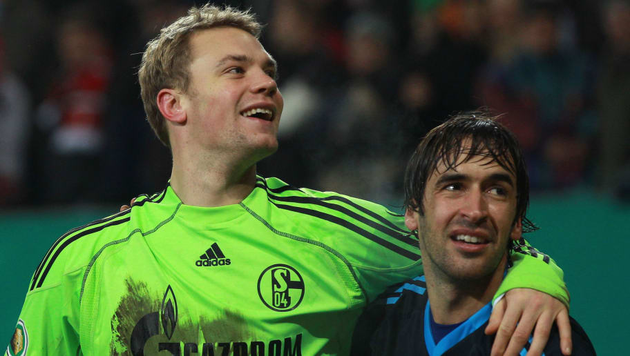 AUGSBURG, GERMANY - DECEMBER 21:  Raul (R) of Schalke celebrates with his team mate Manuel Neuer after winning the DFB Cup last 16 match between FC Augsburg and FC Schalke 04 at Impuls Arena on December 21, 2010 in Augsburg, Germany.  (Photo by Alexander Hassenstein/Bongarts/Getty Images)