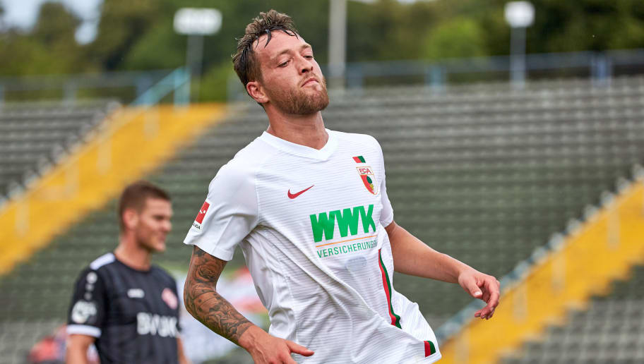 AUGSBURG; GERMANY - JULY 14: Julian Schieber of Augsburg looks on during the friendly match between FC Augsburg and Wuerzburger Kickers at Rosenau Stadion on July 14, 2018 in Augsburg, Germany. (Photo by TF-Images/Getty Images)