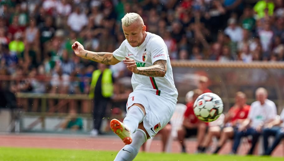 AUGSBURG; GERMANY - JULY 14: Jonathan Schmid of Augsburg controls the ball during the friendly match between FC Augsburg and Wuerzburger Kickers at Rosenau Stadion on July 14, 2018 in Augsburg, Germany. (Photo by TF-Images/Getty Images)