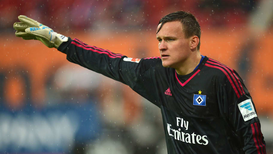 AUGSBURG, GERMANY - MAY 14: Tom Mickel, goalkeeper of Hamburg gives advise during the Bundesiga match between FC Augsburg and Hamburger SV at SGL Arena on May 14, 2016 in Augsburg, Germany.  (Photo by Micha Will/Bongarts/Getty Images)