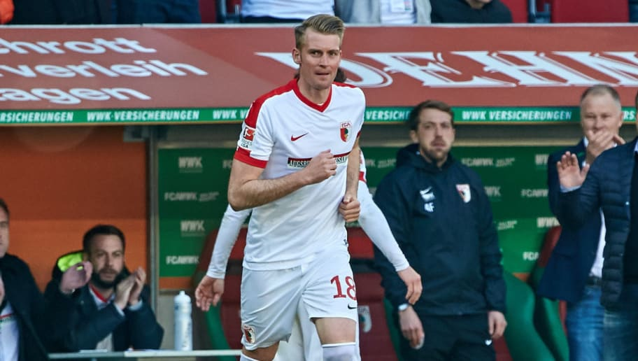AUGSBURG, GERMANY - APRIL 30: Jan-Ingwer Callsen-Bracker of Augsburg looks on during the Bundesliga match between FC Augsburg and Hamburger SV at WWK Arena on April 30, 2017 in Augsburg, Germany. (Photo by TF-Images/Getty Images)