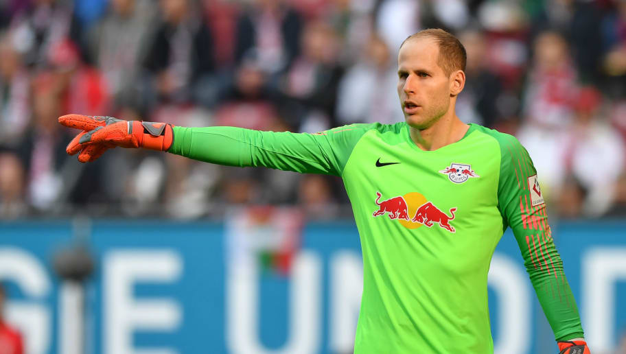 AUGSBURG, GERMANY - OCTOBER 20: Peter Gulacsi of Leipzig gestures during the Bundesliga match between FC Augsburg and RB Leipzig at WWK-Arena on October 20, 2018 in Augsburg, Germany. (Photo by Sebastian Widmann/Bongarts/Getty Images)