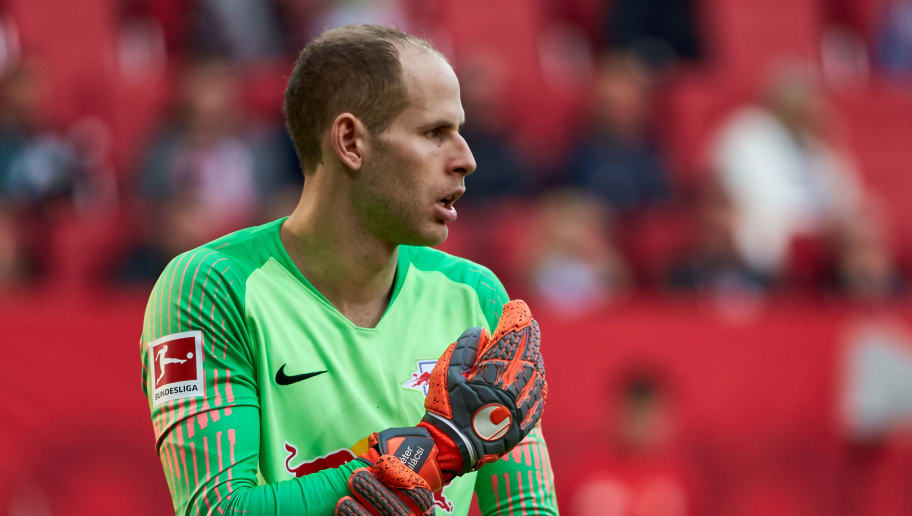 AUGSBURG, GERMANY - OCTOBER 20: Goalkeeper Peter Gulacsi of RB Leipzig looks on during the Bundesliga match between FC Augsburg and RB Leipzig at WWK-Arena on October 20, 2018 in Augsburg, Germany. (Photo by TF-Images/Getty Images)