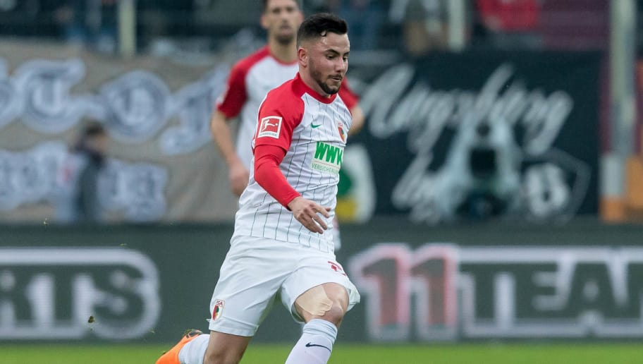 AUGSBURG, GERMANY - MARCH 17: Marco Richter of Augsburg controls the ball during the Bundesliga match between FC Augsburg and SV Werder Bremen at WWK-Arena on March 17, 2018 in Augsburg, Germany. (Photo by TF-Images/Getty Images)