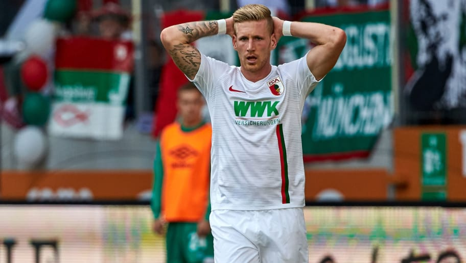 AUGSBURG, GERMANY - SEPTEMBER 22: Andre Hahn of FC Augsburg looks dejected during the Bundesliga match between FC Augsburg and SV Werder Bremen at WWK-Arena on September 22, 2018 in Augsburg, Germany. (Photo by TF-Images/Getty Images)
