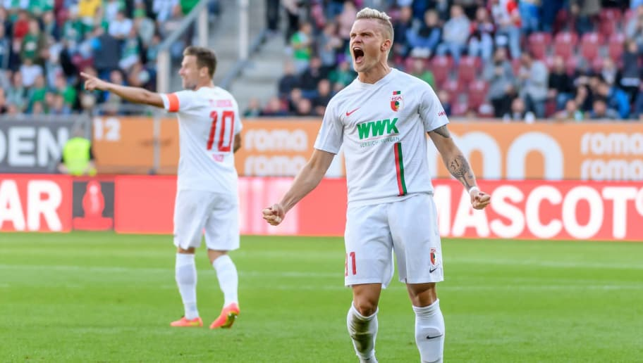 AUGSBURG, GERMANY - SEPTEMBER 22: Philipp Max of FC Augsburg celebrates after scoring his team`s second goal during the Bundesliga match between FC Augsburg and SV Werder Bremen at WWK-Arena on September 22, 2018 in Augsburg, Germany. (Photo by TF-Images/Getty Images)