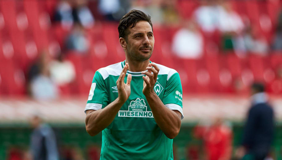 AUGSBURG, GERMANY - SEPTEMBER 22: Claudio Pizarro of Werder Bremen looks on after the Bundesliga match between FC Augsburg and SV Werder Bremen at WWK-Arena on September 22, 2018 in Augsburg, Germany. (Photo by TF-Images/Getty Images)