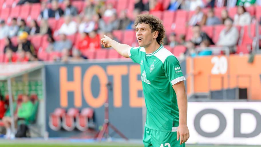 AUGSBURG, GERMANY - SEPTEMBER 22: Milos Veljkovic of Werder Bremen gestures during the Bundesliga match between FC Augsburg and SV Werder Bremen at WWK-Arena on September 22, 2018 in Augsburg, Germany. (Photo by TF-Images/Getty Images)
