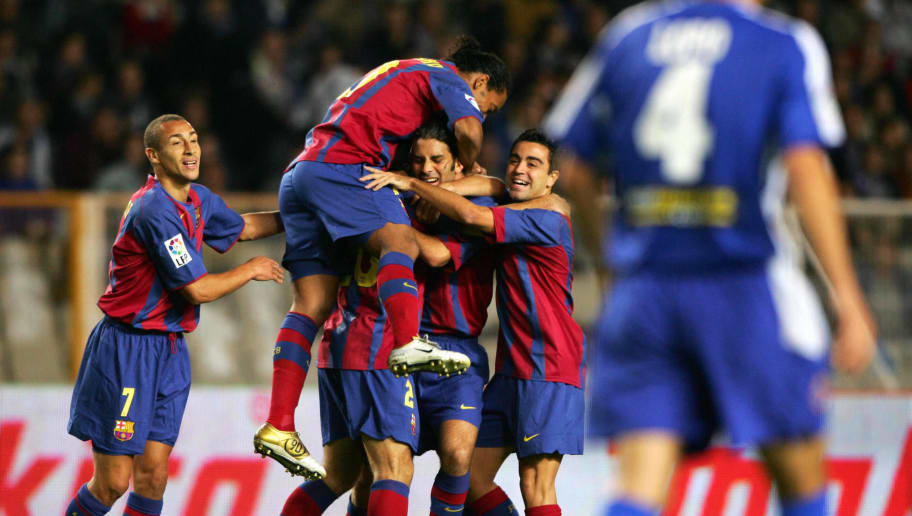 FC Barcelona's players celebrate their f