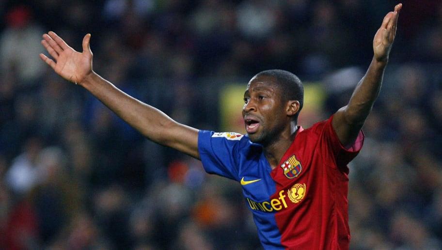FC Barcelona's Seydou Keita of Mali cele