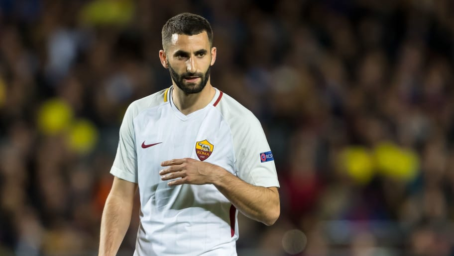 BARCELONA, SPAIN - APRIL 04: Maxime Gonalons of Rom looks on during the UEFA Champions League Quarter-Final first leg match between FC Barcelona and AS Roma at Camp Nou on April 4, 2018 in Barcelona, Spain. (Photo by TF-Images/TF-Images via Getty Images)