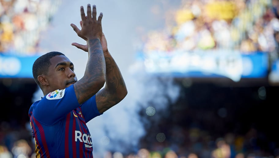 BARCELONA, SPAIN - AUGUST 15:   Malcom of Barcelona prior to the Joan Gamper Trophy match between FC Barcelona and Boca Juniors at Camp Nou on August 15, 2018 in Barcelona, Spain.  (Photo by Quality Sport Images/Getty Images)