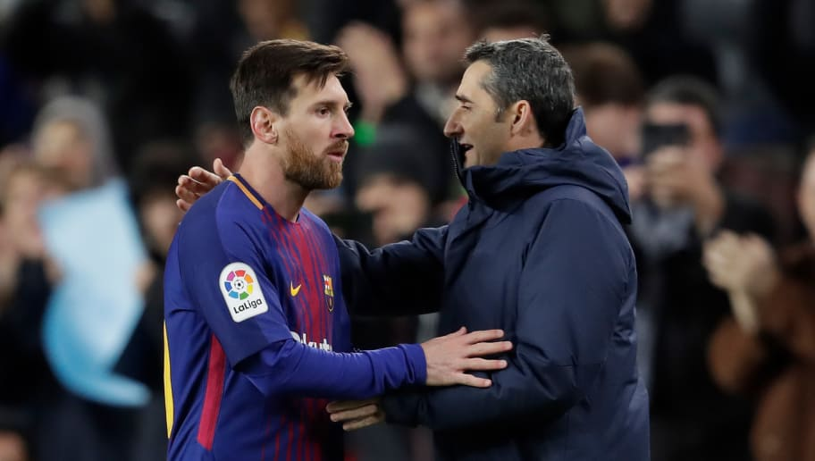 BARCELONA, SPAIN - JANUARY 11: (L-R) Lionel Messi of FC Barcelona, coach Ernesto Valverde of FC Barcelona during the Spanish Copa del Rey  match between FC Barcelona v Celta de Vigo at the Camp Nou on January 11, 2018 in Barcelona Spain (Photo by Laurens Lindhout/Soccrates/Getty Images)